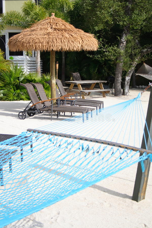 Download Tiki Hut and hammock stock photo. Image of loungers, hammock - 13042860