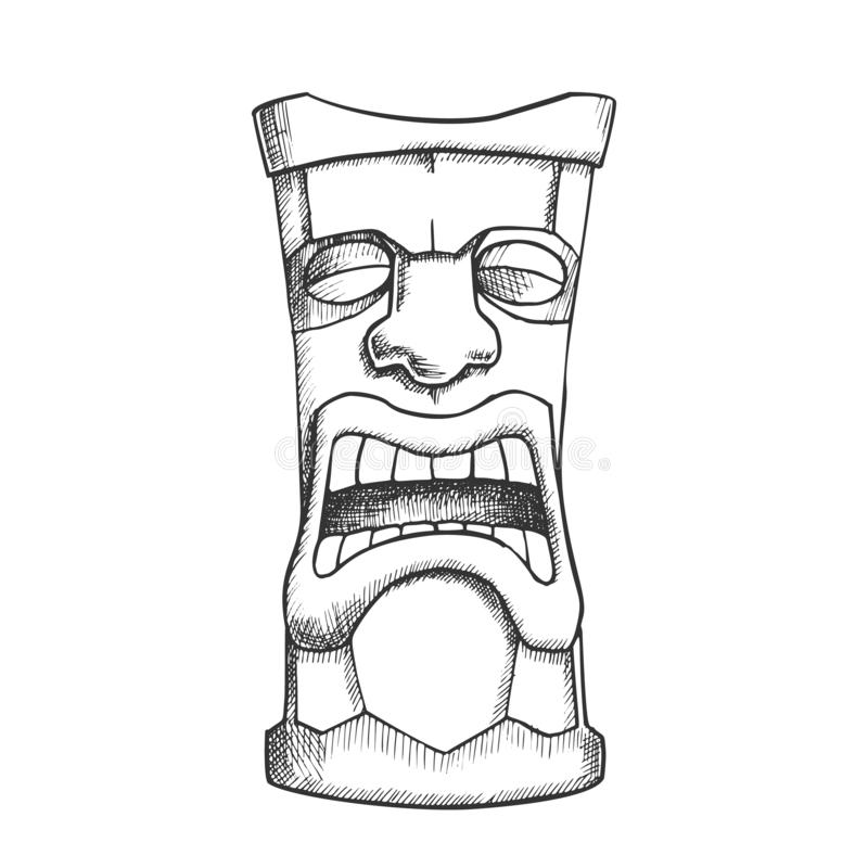 Tiki Idol Carved Wooden Crying Totem Ink Vector royalty free illustration