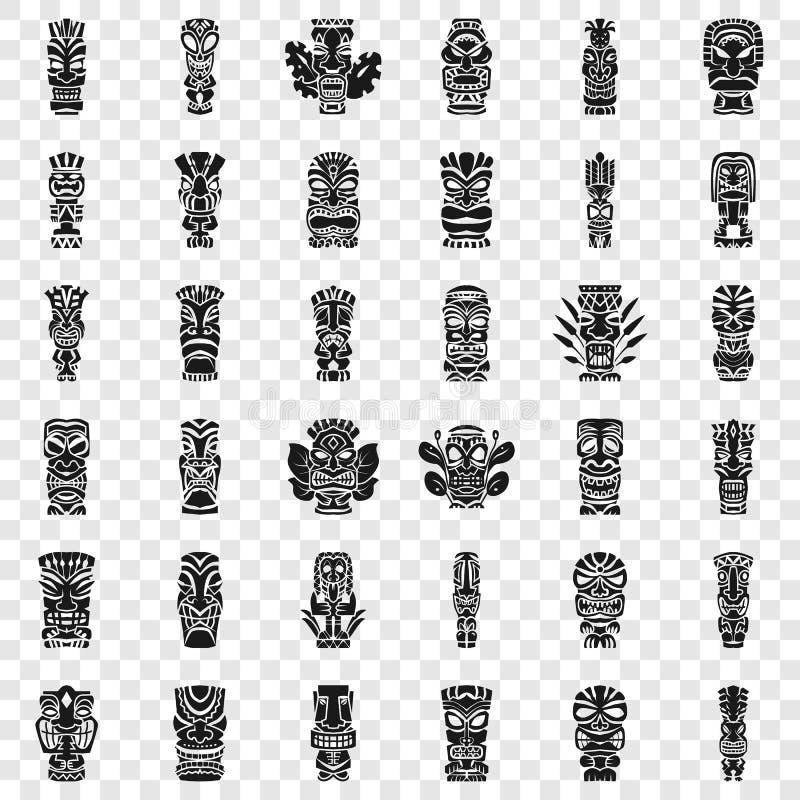 Tiki-Idol-Ikonensatz, einfache Art lizenzfreie abbildung