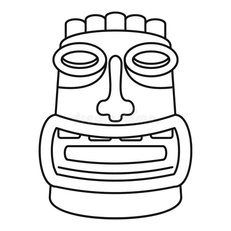 Tiki idol mask icon, outline style. Tiki idol mask icon. Outline tiki idol mask vector icon for web design isolated on white background stock illustration