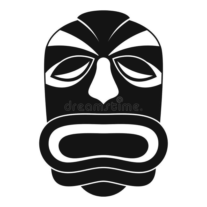 Tiki idol mask icon, simple style. Tiki idol mask icon. Simple illustration of tiki idol mask icon for web design isolated on white background royalty free illustration