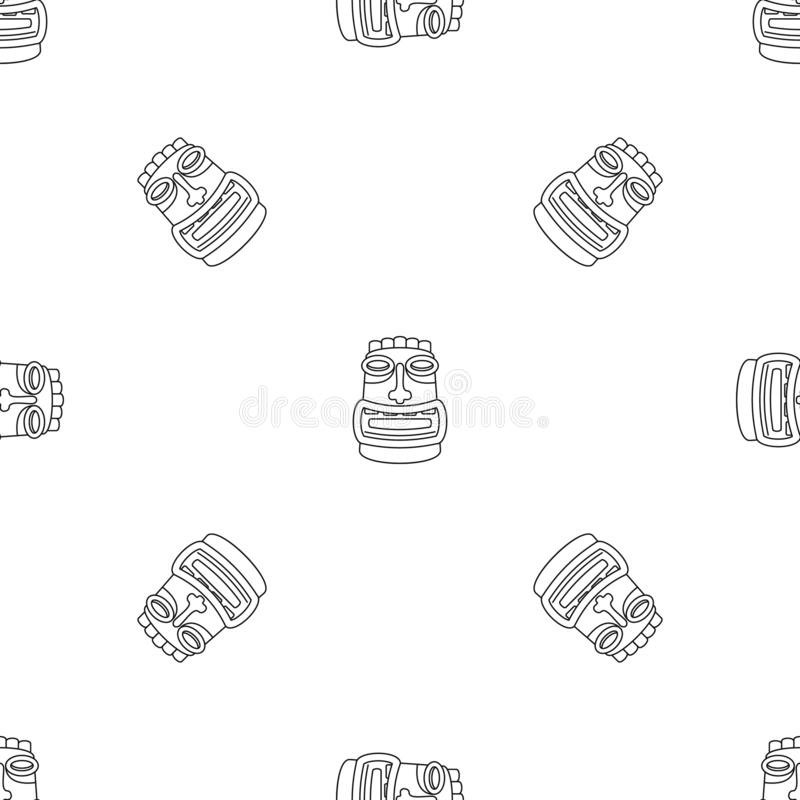 Tiki idol mask pattern seamless vector. Repeat geometric for any web design vector illustration