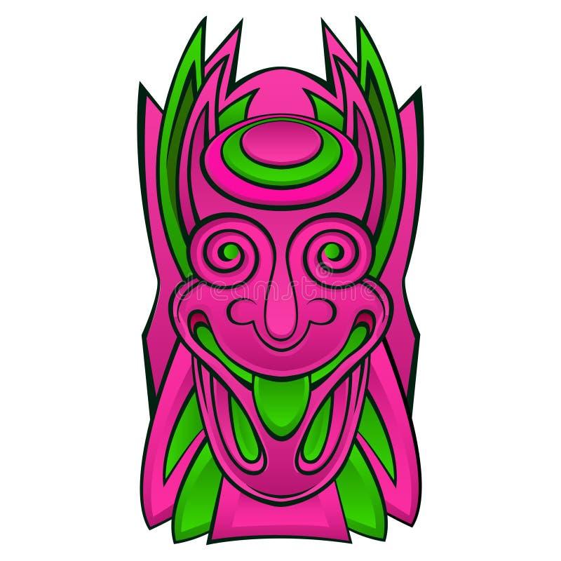 Tiki idol mask. Tribal mask, ancient culture design. Illustrations of hawaiian tiki god , totem tribal colored face vector illustration vector illustration