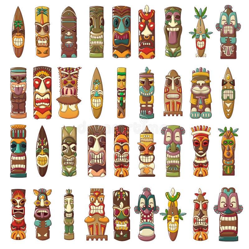 Tiki idols icon set, cartoon style stock illustration