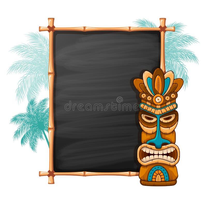 Tiki Mask And Bamboo Frame royalty free illustration