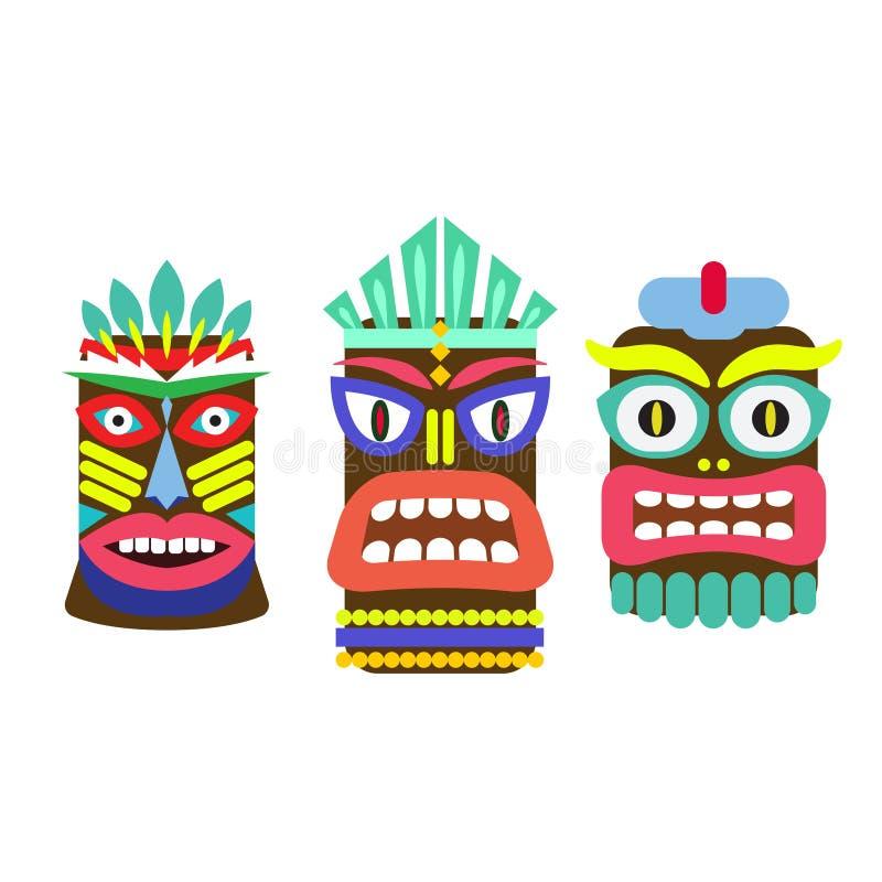Tiki mask cartoon vector set. Hawaiian bar decorations isolated on white royalty free illustration