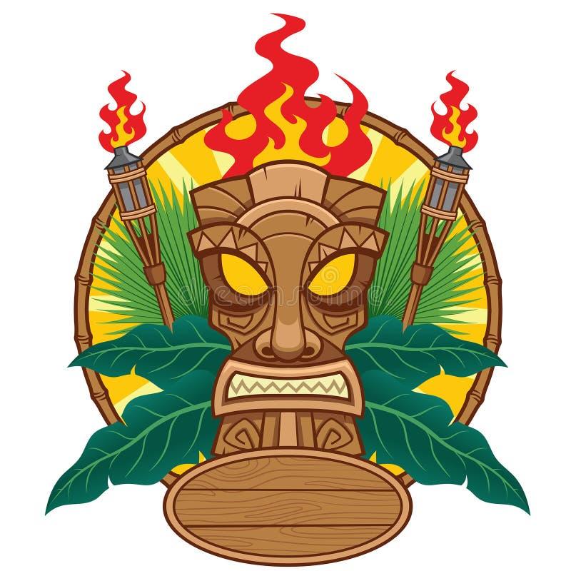 Tiki mask design for tropical concept. Vector of tiki mask design for tropical concept royalty free illustration