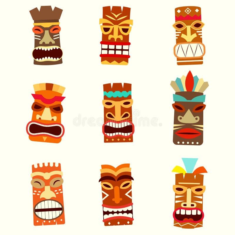 Tiki mask icon set stock illustration