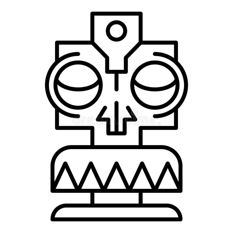 Tiki mask idol icon, outline style. Tiki mask idol icon. Outline tiki mask idol vector icon for web design isolated on white background vector illustration