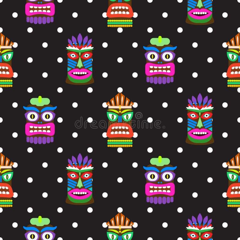 Tiki mask seamless polka dot dark pattern vector. Hawaiian culture black and white background stock illustration