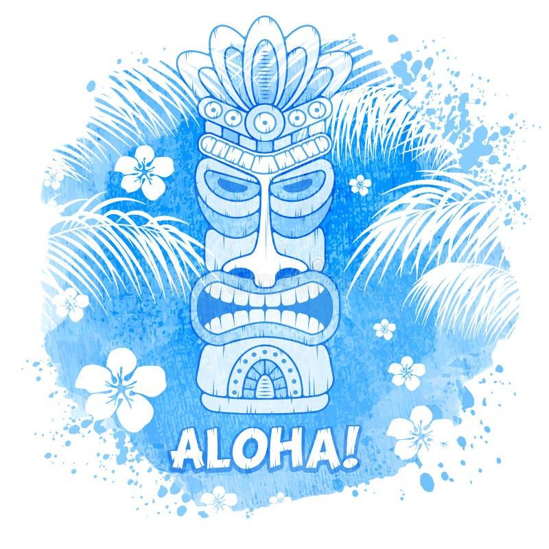 Tiki Mask On Watercolor Background stock illustration