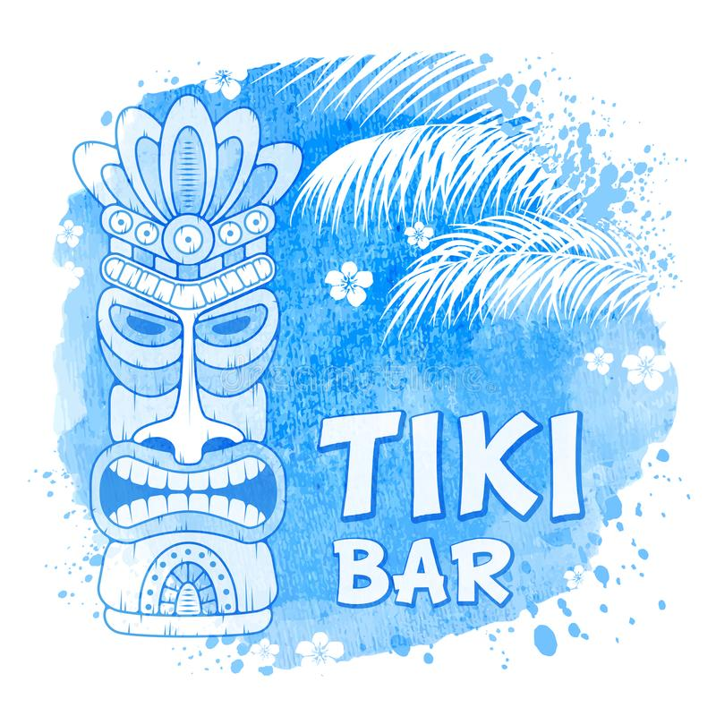 Tiki Mask On Watercolor Background. Tiki tribal wooden mask, palm trees on watercolor background. Hawaiian traditional elements, totem symbol. Isolated on white vector illustration