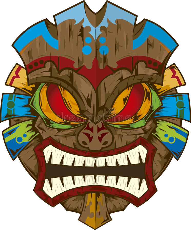 Tiki maskerar stock illustrationer