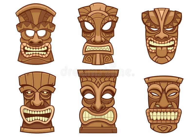 Tiki maskeringsuppsättning royaltyfri illustrationer