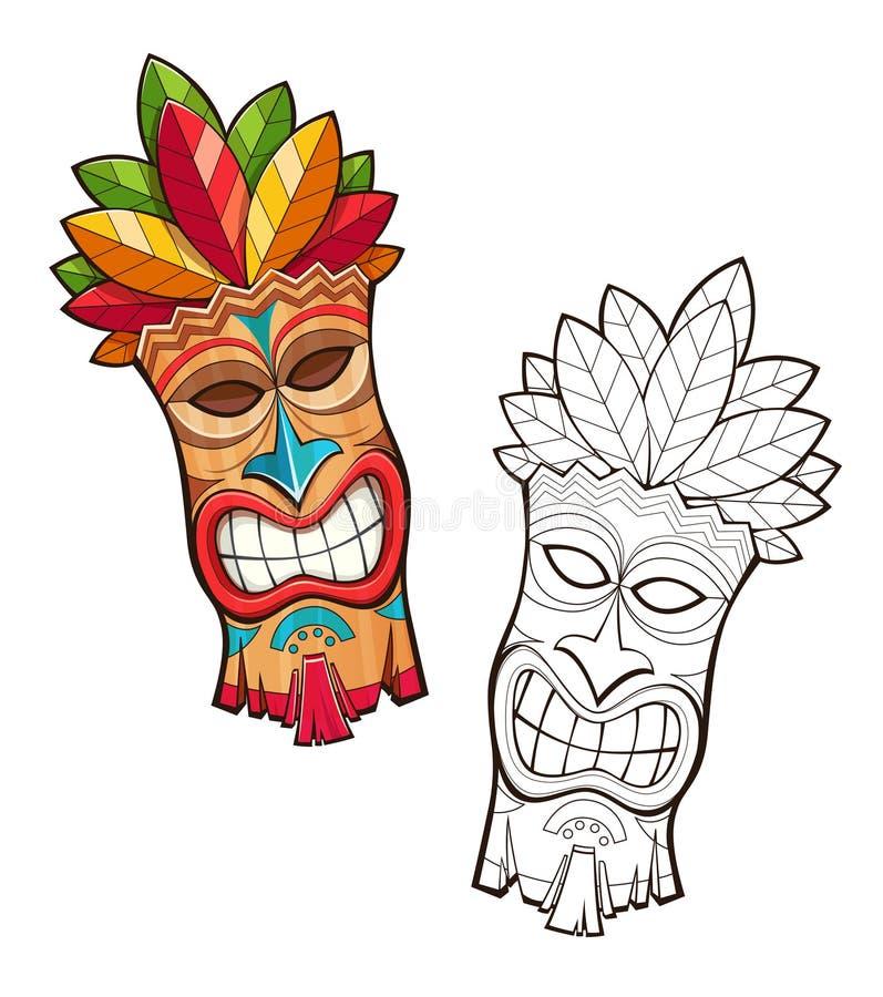 Tiki stam- trämaskering Hawaianskt traditionellt tecken royaltyfri illustrationer
