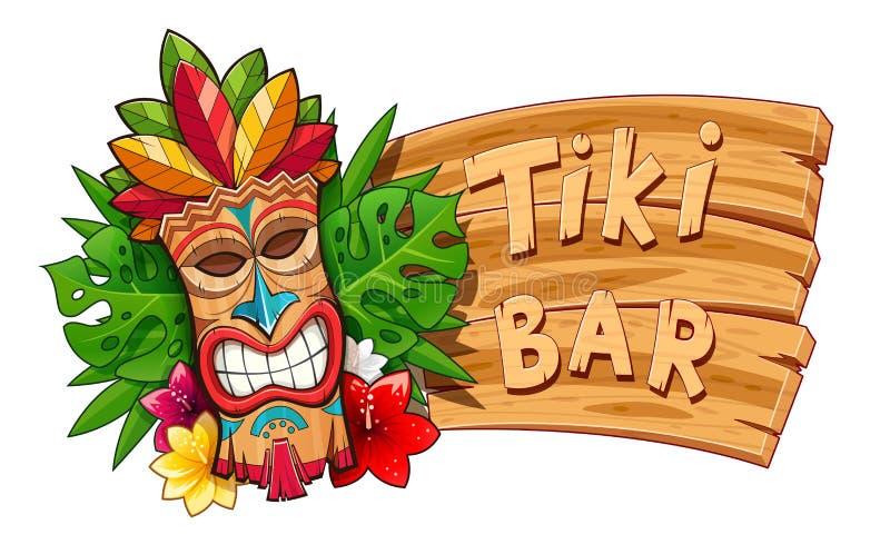 Tiki stammen houten masker Hawaiiaans traditioneel karakter stock illustratie