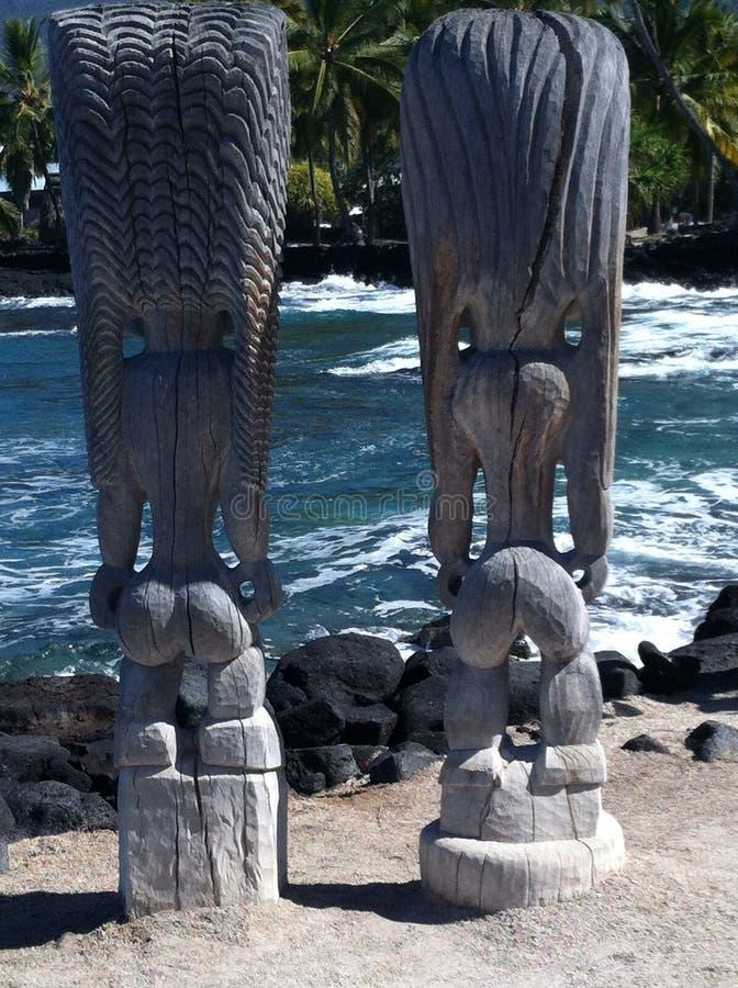 Tiki Statues at Puuhonua O Honaunau on the Big Island of Hawaii royalty free stock photography