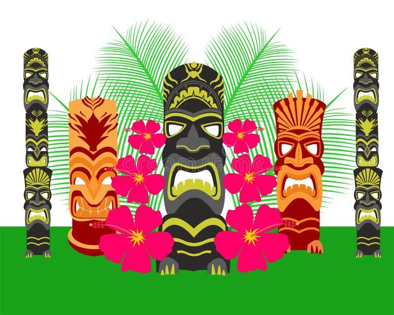Tiki Statues Vector Illustration Set royaltyfri foto