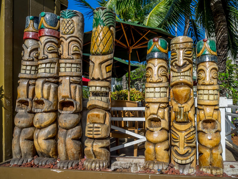 Tiki statues. In Waikiki, symbols of the Hawaiian people stock image