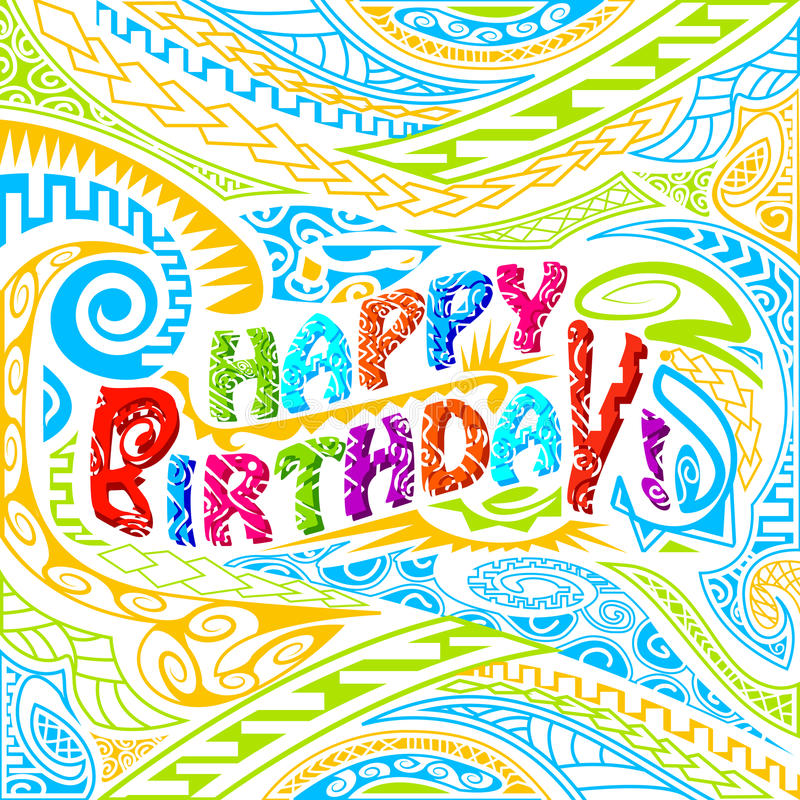 Tiki style Happy Birthday typography. Easy to edit vector illustration of tiki style Happy Birthday typography stock illustration
