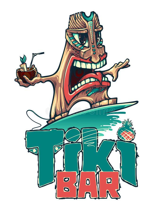 Tiki is a surfer with a tropical cocktail. Tiki bar. Vector illustration vector illustration