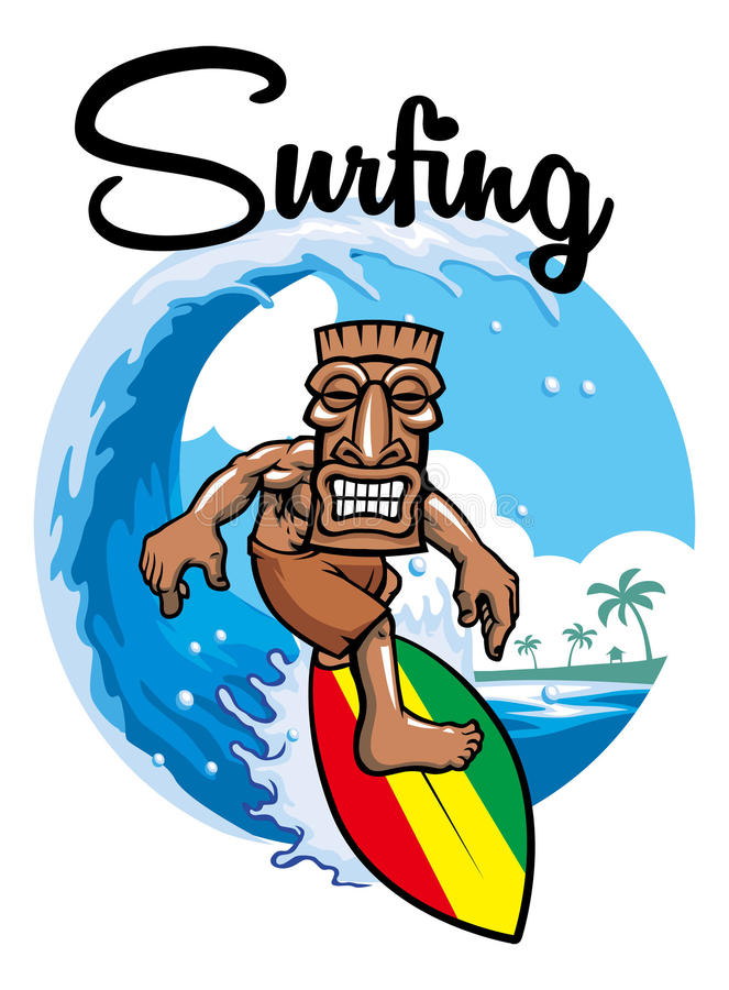 Tiki surfing. Vector of man with tiki mask surfing vector illustration