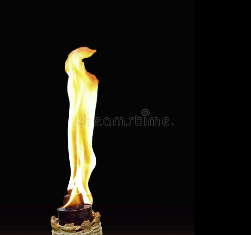 Tiki Torch 4. Isolated tiki torch with brilliant flame royalty free stock photos