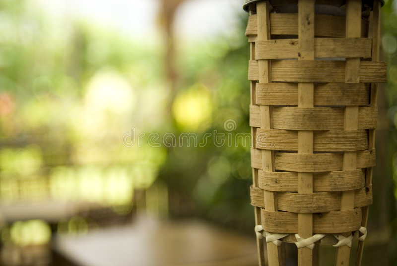 Tiki Torch. In Tropical Restaurant Setting stock photo