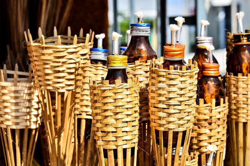 Tiki Torch. On sell in market Thailand royalty free stock photos