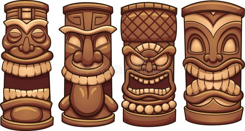 Tiki totem stock illustrationer