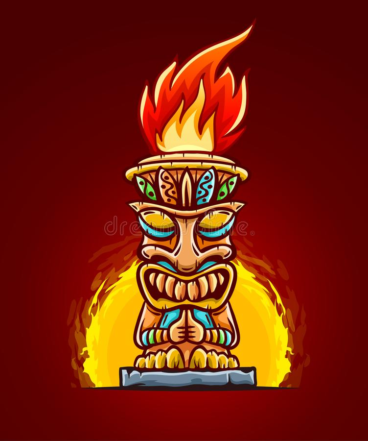 Tiki traditional hawaiian tribal mask with fire. Vector illustration. Tiki traditional hawaiian tribal mask with human face with flame of burning fire of torch stock illustration