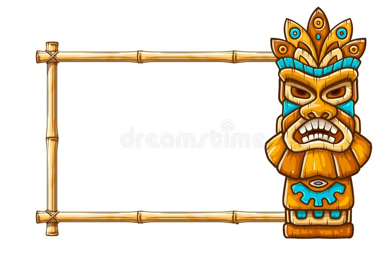 Tiki traditional hawaiian tribal mask. With human face on bamboo frame with copyspace. Wooden totem symbol, god from ancient culture of Hawaii. Hand drawn in vector illustration