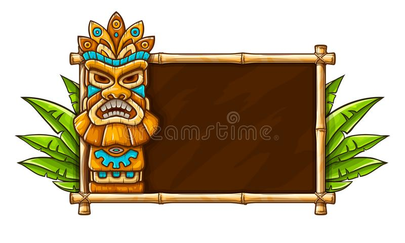 Tiki traditional hawaiian tribal mask. With human face on bamboo frame with copyspace and plant with green leaves. Wooden totem symbol, god from ancient culture royalty free illustration