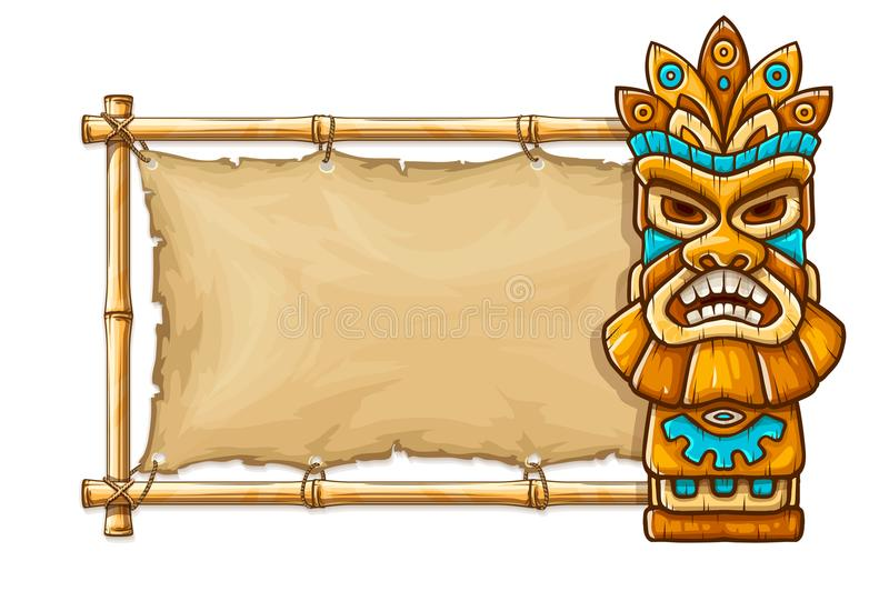 Tiki traditional hawaiian tribal mask. With human face on bamboo frame with copyspace. Wooden totem symbol, god from ancient culture of Hawaii. Hand drawn in stock illustration
