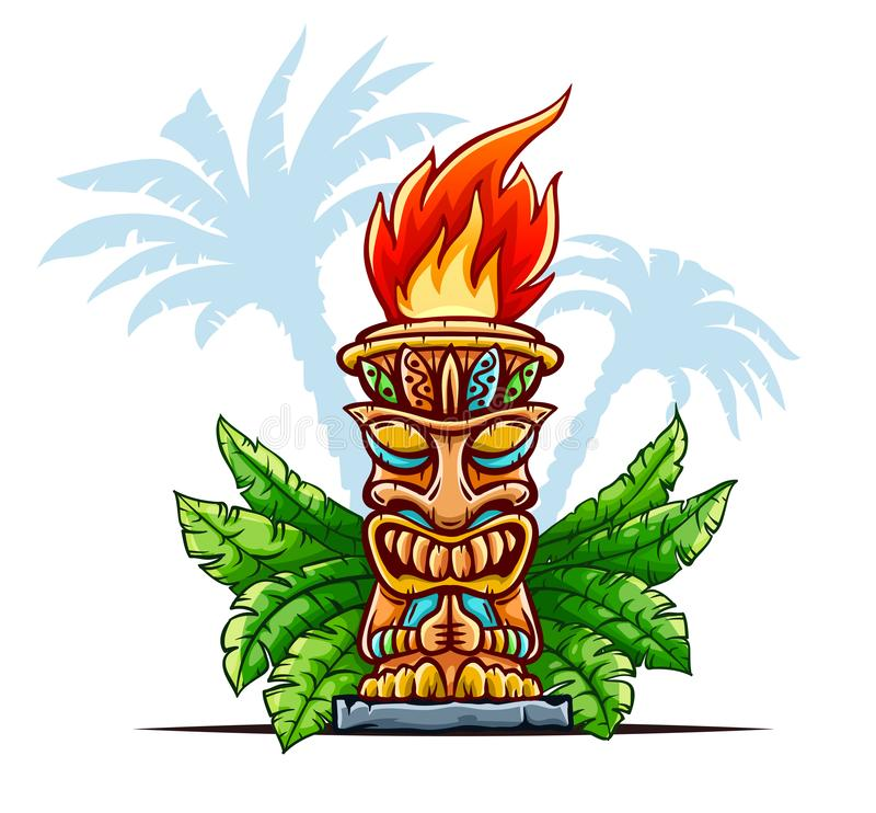 Tiki traditional hawaiian tribal mask. Vector illustration. Tiki traditional hawaiian tribal mask with human face in green leaves of tropical plants. Wooden royalty free illustration