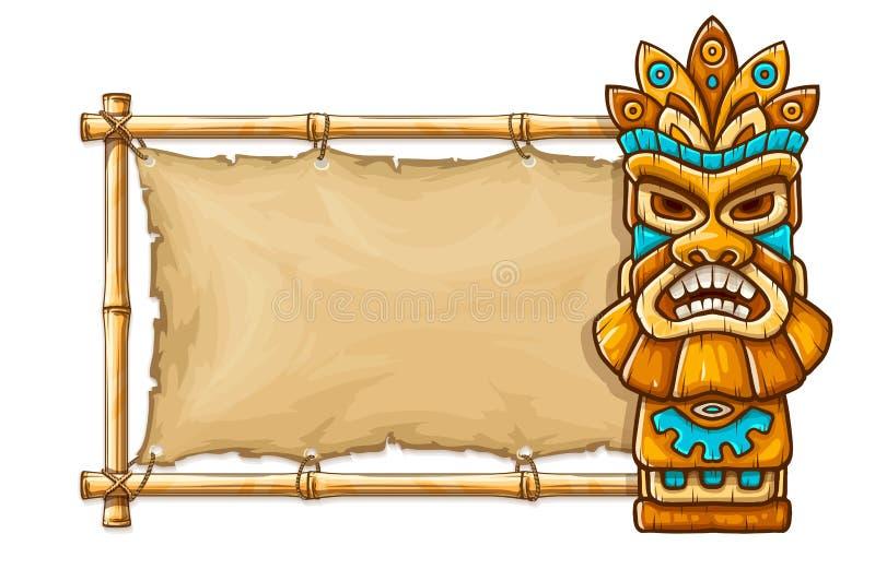Tiki traditioneel Hawaiiaans stammenmasker stock illustratie