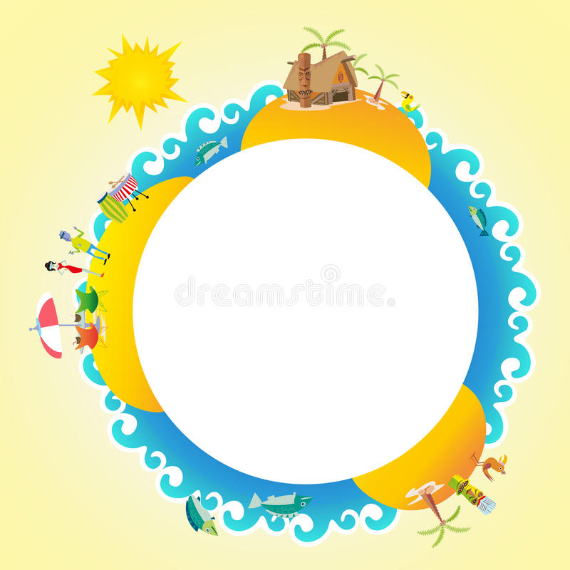 Tiki travel summer badge banner business vector background humans and house beach island holiday element vector illustration