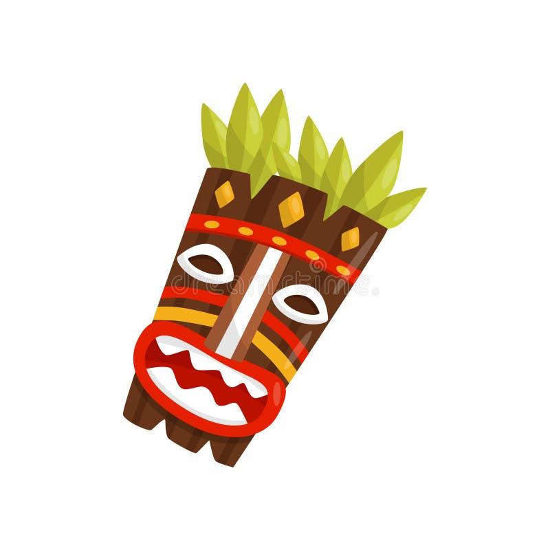 Tiki tribal mask, symbol of Hawaii vector Illustration on a white background. Tiki tribal mask, symbol of Hawaii vector Illustration isolated on a white stock illustration