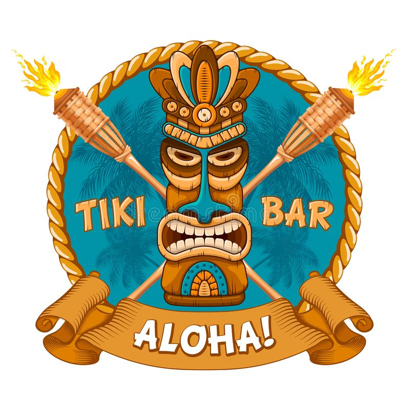 Wooden Tiki mask and signboard of bar stock illustration