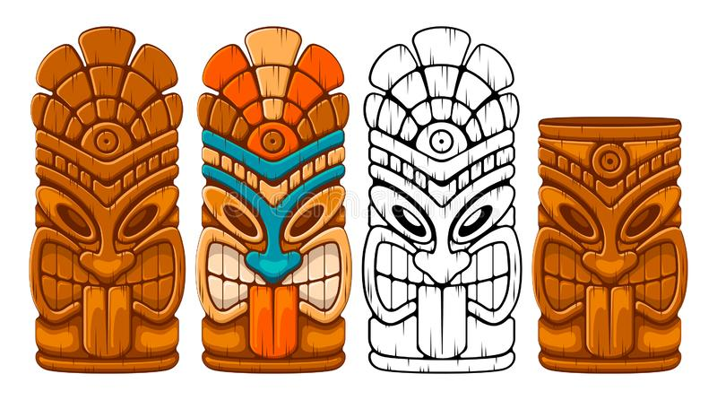 Wooden Tiki Mask Set. Tiki tribal wooden mask set and Tiki mug. Hawaiian traditional elements. Colored, wooden and black and white silhouette. Isolated on white stock illustration