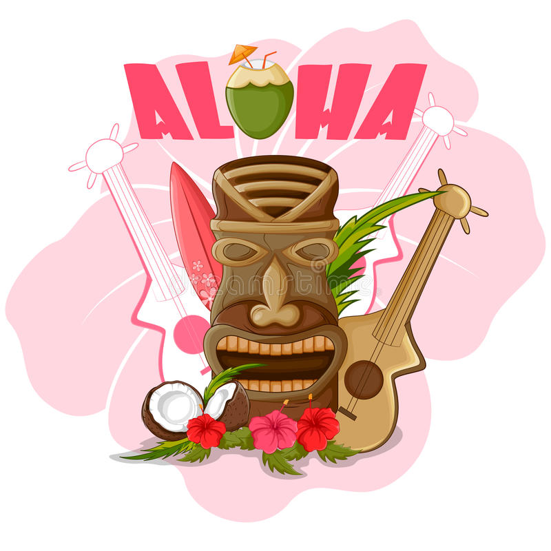 Tiki tropical with tribal mask vector illustration