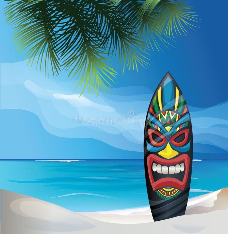Tiki warrior mask design surfboard on ocean beach. Background design with Tiki warrior mask design surfboard on ocean beach stock illustration