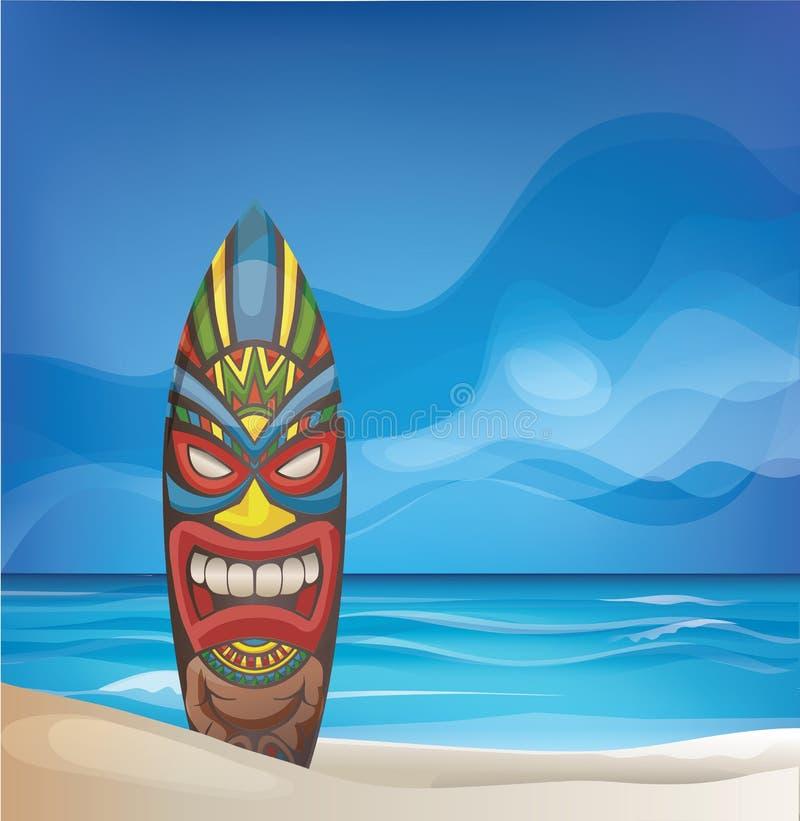 Tiki warrior mask design surfboard on ocean beach. Background design with Tiki warrior mask design surfboard on ocean beach royalty free illustration