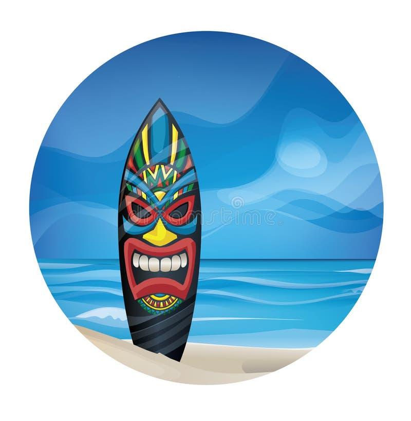 Tiki warrior mask design surfboard on ocean beach. Background design with Tiki warrior mask design surfboard on ocean beach vector illustration