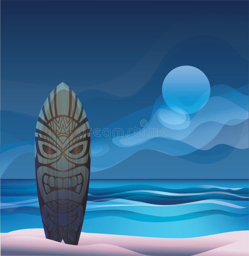 Tiki warrior mask wood surfboard ocean beach night. Background with Tiki warrior mask surfboard on ocean beach at night royalty free illustration