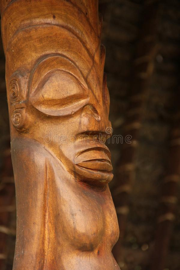 Tiki. A wooden Tiki on the island of Nuku Hiva, Marquesas Islands, French Polynesia stock photos