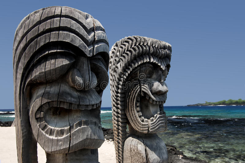 Tikis Place of Refuge Hawaii stock photography