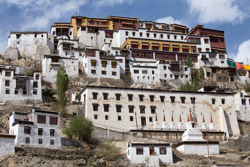 Tiksey Boeddhistisch klooster in Ladakh, India, stock afbeelding