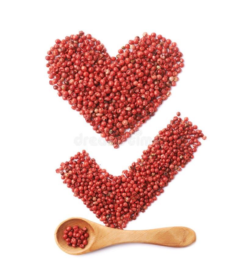 Tikteken en hart van peper wordt gemaakt die stock afbeeldingen