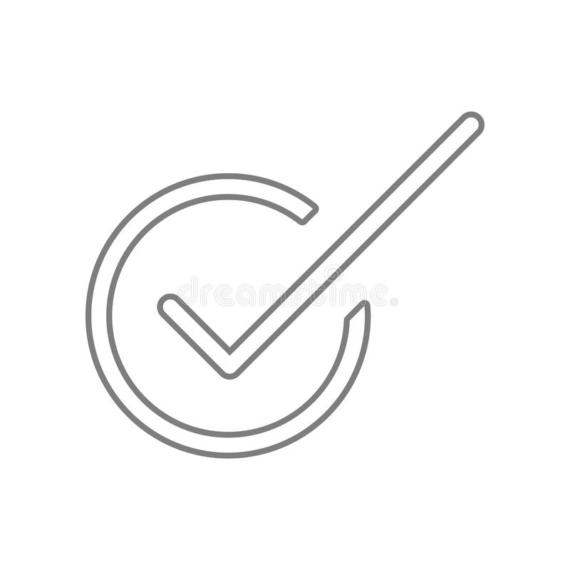 Tikteken, vinkje O.K. pictogram Element van Web voor mobiel concept en webtoepassingenpictogram Overzicht, dun lijnpictogram voor vector illustratie